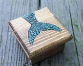 LIttle Woodburned Box - Mermaid Tail