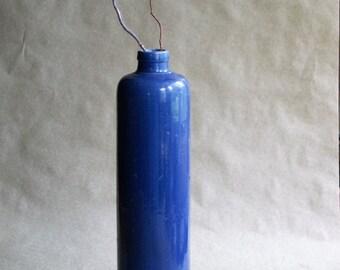 Blue Stoneware Wine Bottle, Salt Glaze Pottery, Tall Antique Jug, Rustic Farmhouse Kitchen Decor German St. N