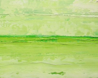 Abstract landscape oil painting, original oil painting, fields of grass, clouds, lime green, spring clearing
