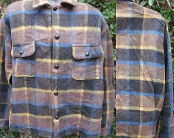 Vintage Men's Plaid Wool,Shirt, Men's Jacket, winter layer, plaid 70's