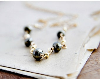 ON SALE Pyrite Necklace Gold Christmas Gift Metallic Bronze Stone