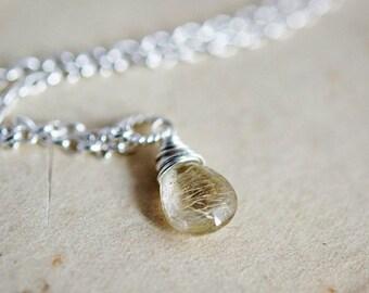 ON SALE Rutilated Quartz, Gold Rutilated, Quartz Necklace, Quartz Pendant, Blonde Hair, Sterling Silver, Gemstone Necklace, Wire Wrapped, Po