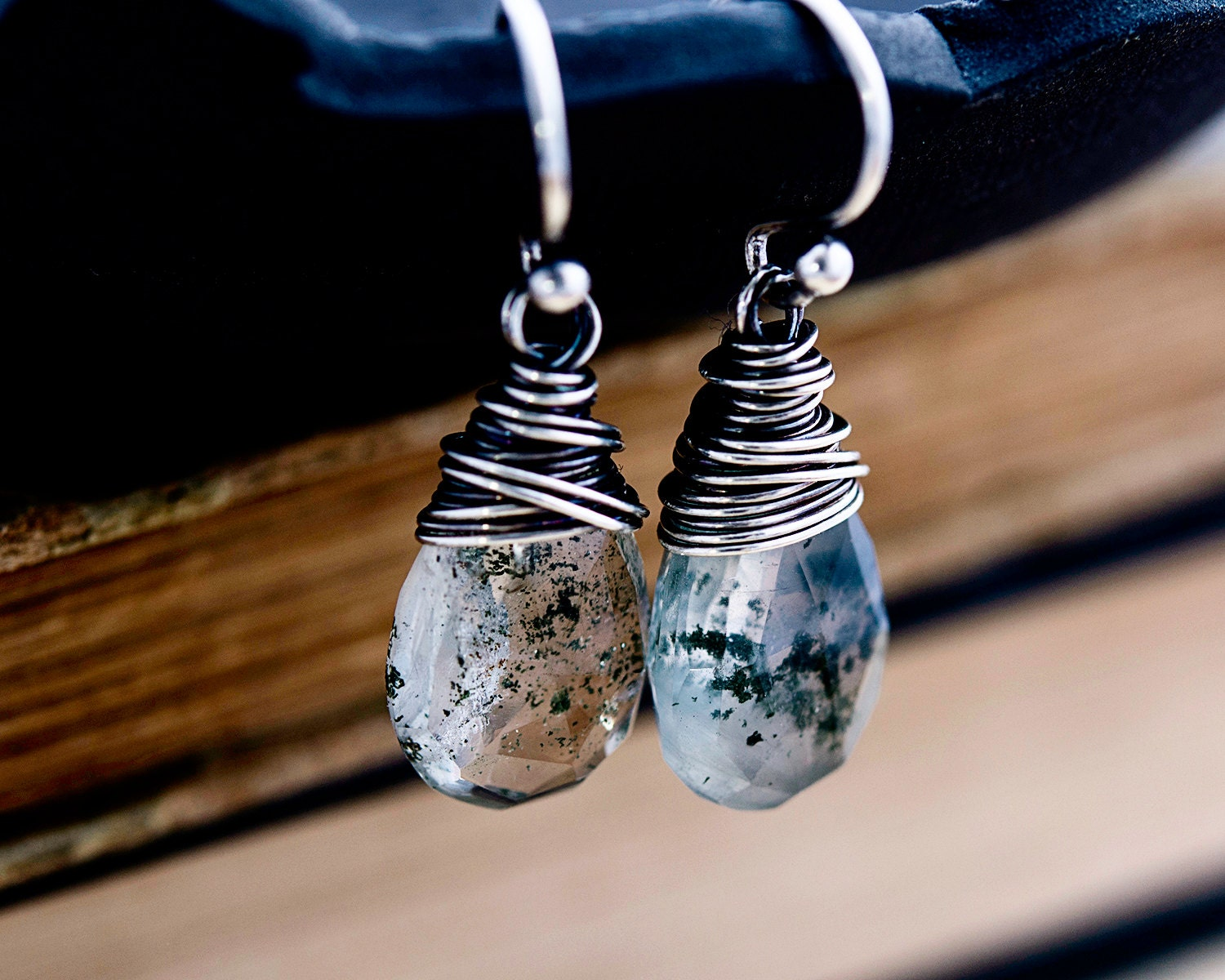 Drop Earrings Gemstone Earrings Terrarium Jewelry Lodolite  # Terrarium Dangle
