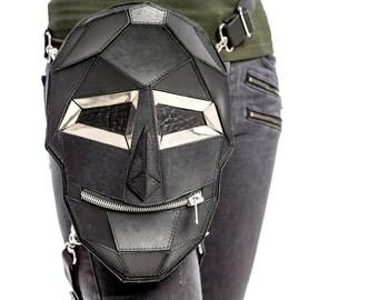 FETISH GIMP Skull MASK Leather Holster Backpack and Hip Bag