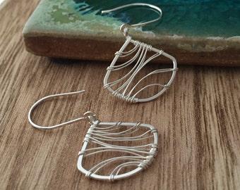 Silver Fan Earrings. Wire Wrapped. Sterling Silver. E408SS  wire jewelry by cristysjewlery on etsy