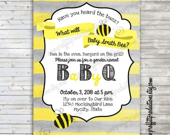 What will Baby Bee custom baby gender reveal invitation - digital file