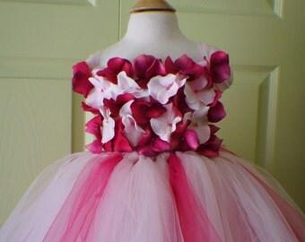 Flower Girl Dress, Tutu Dress, Photo Prop, Magenta and Light Pink Flowers, Flower Top, Tutu Dress