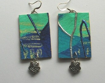 Blue tiny paintings with pewter flower beads