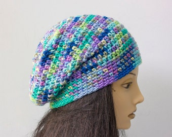 Multi Color Slouchy Beanie, Slouchy Hat, Winter Hat,  Woman's Crochet Hat, Blue Purple Hat,  Ready to Ship