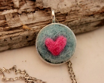 Felted Heart Necklace,Heartscapes Pendant Necklace, Needle Felted Heart  Necklace, Silver Heart Necklace #1681