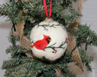 Cardinal Ornament, Needle Felted Cardinal ORnament, Wool Cardinal Ornament, Needlefelted Ornament