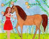 Children Decor - Nursery Art - Nursery Wall Art - Nursery Decor - Horse Painting - Horse Art - Horse Illustration - Girl and Horse Print -