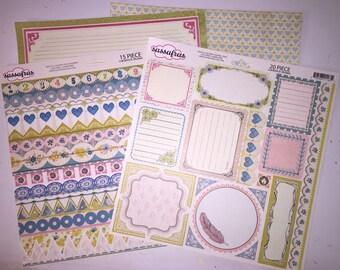Sassafras 12 x 12 scrapbook paper - stickers  - borders - scrapbook supplies - embellishments
