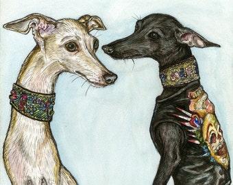 Italian Greyhound Art Dog Print