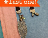 Beaded Brown Velvet Ribbon Bookmark with Rustic Brass Leaf Accent: Epoc