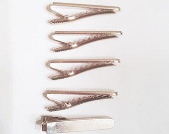 10 lot DIY Medium Rounded Tie Bar Tie Clips Glue On metal findings