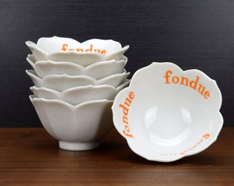 Set of 6 Lotus Bowls for Fondue, Tulip Bowls, Made in Japan, Orange on White, Small Appetizer or Party Bowls