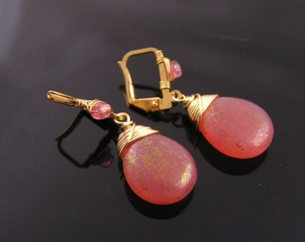 Golden Pink Czech Glass Drop Earrings, Pink and Gold Earrings, Wire Wrapped Czech Bead Earrings, Peach Earrings, E2129