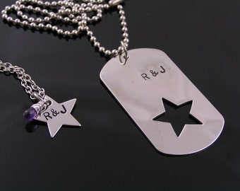 Matching Couple Necklace, Boyfriend Girlfriend Necklace, Dog Tag Star Necklaces, Boyfriend Girlfriend Jewelry, Dog Tag Boyfriend Girlfriend