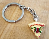 Food Keychain, Pizza Slice Keychain, Backpack Charm, Keyring, Food Charm