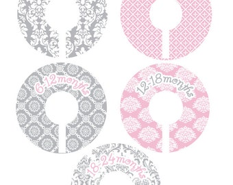 Pink and Grey Damask Baby Girl Closet Dividers