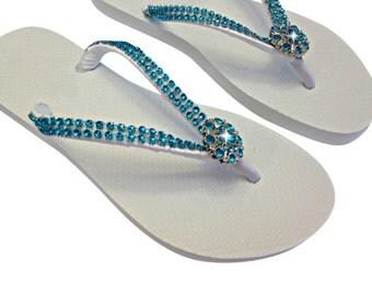 Bridesmaid Flip Flops - Rhinestone Flip Flops - Bridal Flip Flops -Turquoise Flip Flops - Beach Wedding Flip Flops - Wedding Sandals -