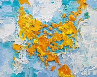"""Small Original Oil Painting, Blue and Orange, 5 x 5"""", Unframed, Contemporary Art"""
