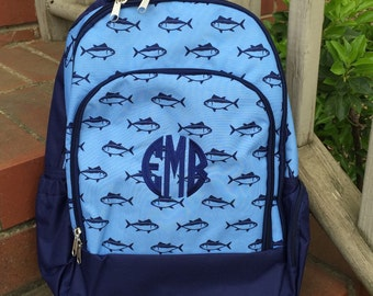 Finn Backpack-Fish Backpack-includes Monogram-School Bag-Diaper Bag