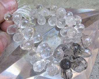 25% Off SALE AAA Quality Finely Faceted Graduated Tourmalated Quartz Briolette Beads Many Many Possible pairs