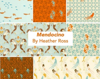 Mendocino Heather Ross Windham Fabrics, Fat quarter 7-pc set - Blue/Brown Palette cotton quilting fabric bundle