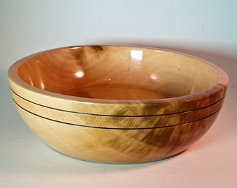 """Hand turned pear bowl 6 3/4"""" x 2"""""""