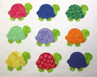 Set of 9 Iron-on Bright Turtle Cotton Fabric Appliques for Quilts Apparel Etc.