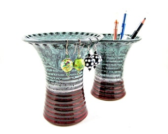 Earring holder, Jewelry vase, Jewelry holder, makeup brushs holder, 2 in 1 -  In stock