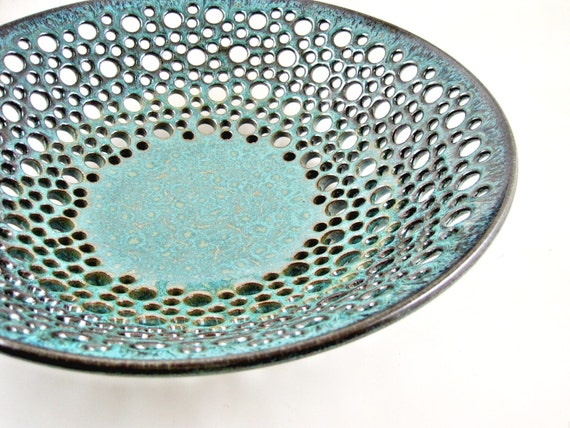 Pottery fruit bowl , fruit bowl , teal blue pottery , modern home decor , turquoise ceramic - In stock FB102 I