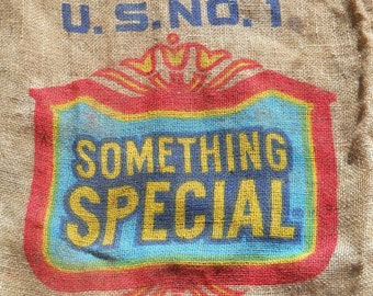 California Potatoes Burlap Sack- Something Special USA Advertising Great Graphics- Burlap Wall Art- Seat Cushion Fabric-Farmhouse Pillow