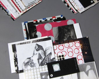 Black White Red - 1 set of assemblage / scrapbooking stock / pencil sketch mix
