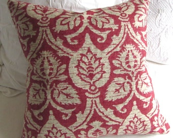 damask red on tan decorative pillow 20x20 includes insert