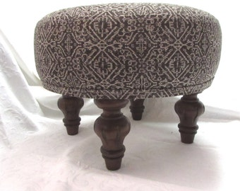 TUFFET in brown ikat, upholstered Stool/ottoman/tuffet/bench/seating furniture