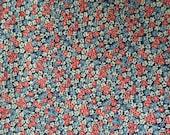 Vintage floral cotton seersucker fabric red blue white 2 yards