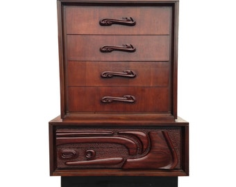 Summer Sale Sculpted Highboy Dresser Witco Style Abstract Mid Century Modern Tiki Mad Men