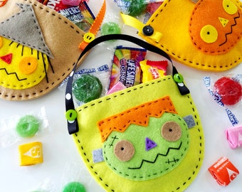 Halloween Felt Pouches for Scarecrow, Pumpkin & Frankenstein Sewing Pattern for Party Treat Bags - PDF e PATTERN DIY