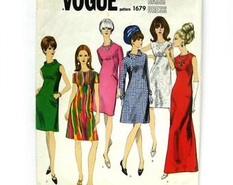 1960s Vintage VOGUE Basic Design Sewing Pattern - Mod DRESS - Evening Gown / Vogue 1679 / Size 12 UNCUT