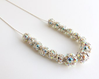 Silver Rhinestone Beaded Necklace -- Beautiful Sparkly Metal Beads -- Sterling Silver Chain & Clasp -- UK Shop