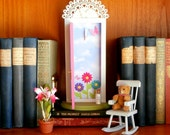 Pink Tooth Fairy Door, opens outward with sky and butterfly garden inside
