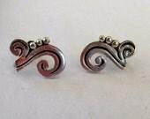 Vintage MEXICO Sterling Silver Modernist Design Screwback EARRINGS