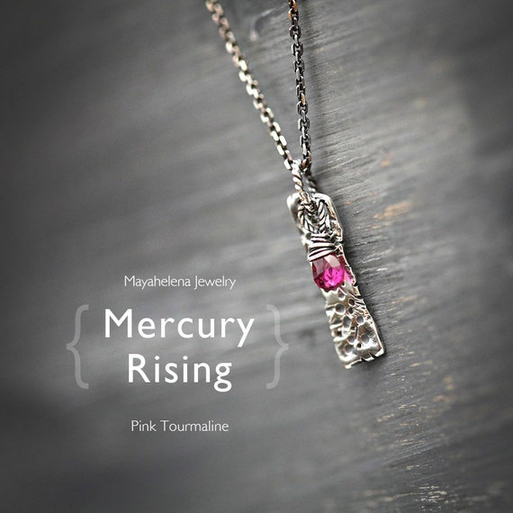 Mercury Rising - Textured charm and Pink Tourmaline Wire Wrapped Sterling Silver Necklace - October Birthstone