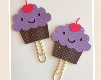 Kawaii Purple Cupcake Planner Clip, Paper Clip, Planner Accessories, Planner Supplies, Bookmark