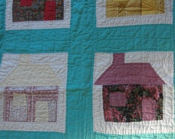 VINTAGE SCHOOLHOUSE QUILT Remnant 35 x 23  with 2 Matching Pillow Covers to Stuff Reduced