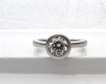 One carat diamond engagement ring, platinum tapered solitaire, 1 carat bezel set diamond low profile engagement ring