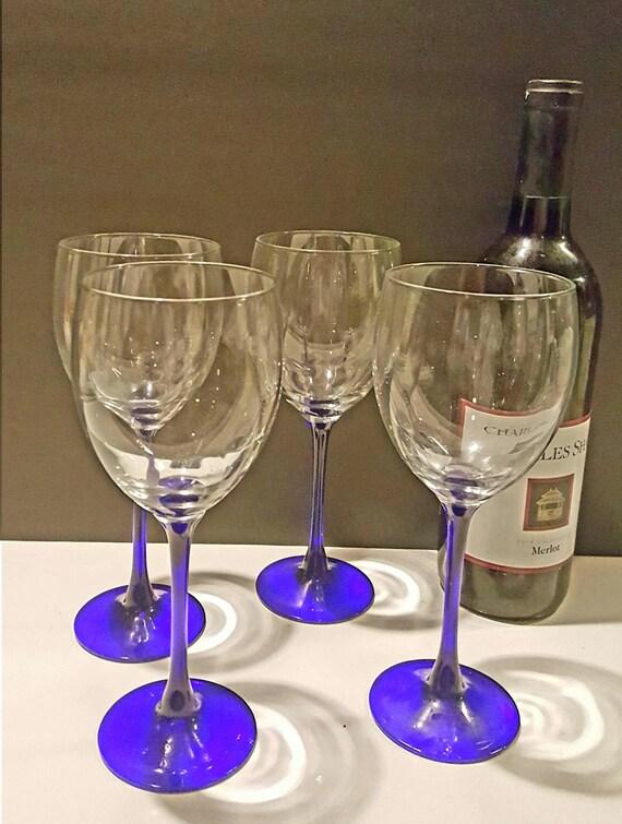 Items Similar To Set Of 3 Vintage Cobalt Blue Stem Wine